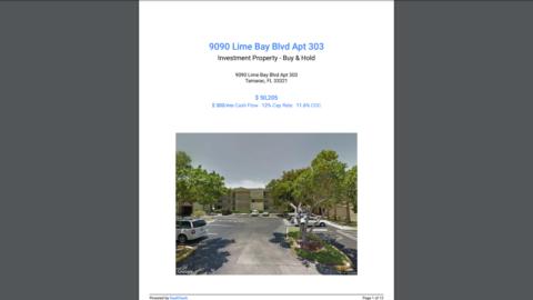 9090 Lime Bay Blvd Apt 303 Tamarac, FL 33321 50,205 דולר תזרים מזומנים של 500 $ לחודש 12% ...