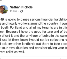 South Portland landlord challenges other landlords to offer financial relief due to coronavirus concerns
